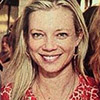 Amy Smart wearing Natalie Martin silk sarong print dress and Feathered Soul necklace